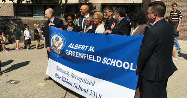 Students at Albert M. Greenfield Elementary School, located at 22nd and Chestnut streets, cheered at an afternoon ceremony announcing that the U.S. Department of Education had selected Greenfield as one of 349 Blue Ribbon schools nationwide.
