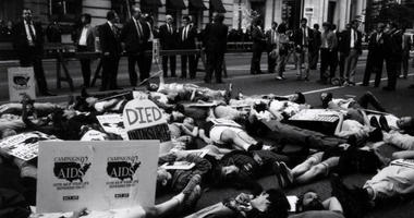ACT-UP demonstration outside of the Bellevue Hotel in Center City Philadelphia in 1991.