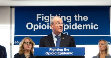 Gov. Phil Murphy makes an announcement on fighting the opioid crisis on January 23, 2019, at Cooper University Hospital in Camden.