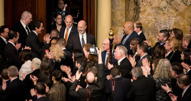 Gov. Tom Wolf leaves the Capitol after giving his budget address, Feb. 5, 2019.