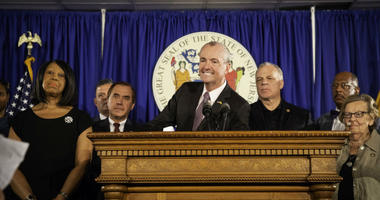 Governor Murphy, Lieutenant Governor Oliver, Senate President Sweeney and Speaker Coughlin hold a press conference on budget agreement in Trenton on June 30, 2019.