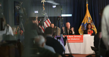 Governor Murphy, Lt Gov Oliver, and urban mayors discuss gun violence prevention on May 28, 2019 in Trenton.