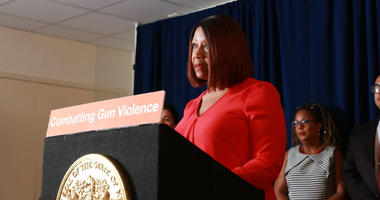 Acting Governor Sheila Oliver signs a package of gun bills in Trenton on Monday, August 5th, 2019.