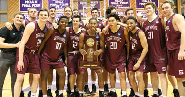 The Swarthmore College men's basketball team celebrates after reaching the NCAA Division III Final Four.