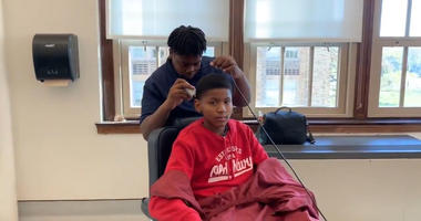 Barbering class at Dobbins High