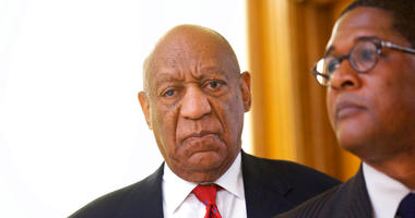 Bill Cosby reacts while being notified a verdict was in in his sexual assault retrial.