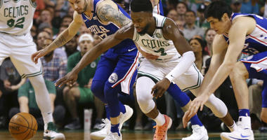Philadelphia 76ers guard Ben Simmons (25) drives against Boston Celtics forward Al Horford during the first quarter of Game 2 of an NBA basketball second-round playoff series.
