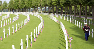 A U.S. Marine Corps soldier visits graves prior to a Memorial Day commemoration at the Aisne-Marne American Cemetery in Belleau, France.