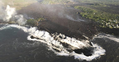 A morning overflight confirmed that lava completely filled Kapoho Bay, inundated most of Vacationland and covered all but the northern part of Kapoho Beach Lots, scientists with the U.S. Geological Survey's Hawaiian Volcano Observatory said.