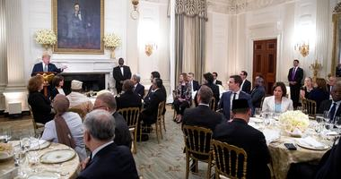 President Donald Trump speaks at an iftar dinner, which breaks a daylong fast, celebrating Islam's holy month of Ramadan, in the State Dining Room of the White House.