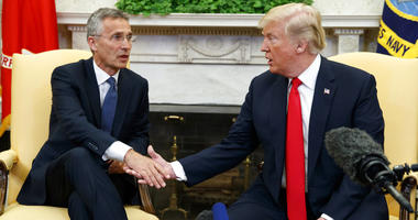 In this May 17, 2018, file photo, President Donald Trump meets with NATO Secretary General Jens Stoltenberg in the Oval Office of the White House in Washington.