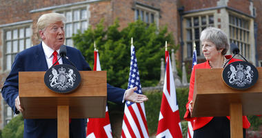 President Donald Trump with British Prime Minister Theresa May