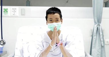 Somphong Jaiwong, one of the 12 boys rescued from the flooded cave, in their hospital room at Chiang Rai Prachanukroh Hospital in Chiang Rai province, northern Thailand.