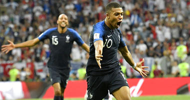 France's Kylian Mbappe celebrates after scoring his side's fourth goal during the final match between France and Croatia at the 2018 soccer World Cup.