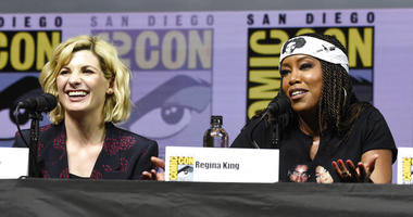 Jodie Whittaker, left, and Regina King speak at the EW: Women who Kick Ass panel on day three of Comic-Con International on Saturday, July 21, 2018, in San Diego.