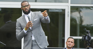 LeBron James speaks at the opening ceremony for the I Promise School in Akron, Ohio, Monday, July 30, 2018.
