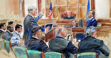 This courtroom sketch depicts defense lawyer Kevin Downing asking questions of Rick Gates, as former Donald Trump campaign chairman Paul Manafort, bottom front left, listens during Manafort's trial on bank fraud and tax evasion at federal court.