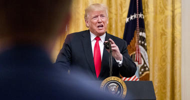 President Donald Trump speaks during an event to salute U.S. Immigration and Customs Enforcement (ICE) officers and U.S. Customs and Border Protection (CBP) agents.