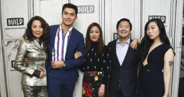 "In this Aug. 14, 2018, file photo, Actors Michelle Yeoh, from left, Henry Golding, Constance Wu, Ken Jeong and Awkwafina participate in the BUILD Speaker Series to discuss the film ""Crazy Rich Asians"" at AOL Studios in New York."