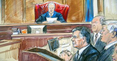 This courtroom sketch shows Paul Manafort listening to U.S. District court Judge T.S. Ellis III at federal court in Alexandria, Va., Tuesday, Aug. 21, 2018.