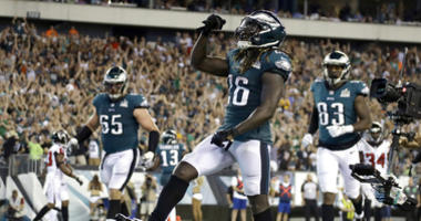 Philadelphia Eagles' Jay Ajayi celebrates after scoring a touchdown during the second half of an NFL football game against the Atlanta Falcons on Thursday, Sept. 6, 2018, in Philadelphia.