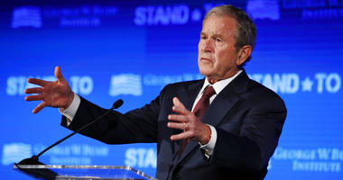 "In this June 23, 2017 file photo, former President George W. Bush speaks during ""Stand-To,"" a summit held by the George W. Bush Institute focused on veteran transition, in Washington."