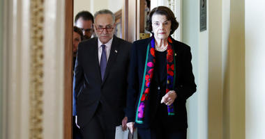 Senate Minority Leader Chuck Schumer, D-N.Y., left, and Senate Judiciary Committee Ranking Member Sen. Dianne Feinstein, D-Calif., arrive to speak to the media about the FBI report.