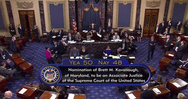 Vice President Mike Pence announces the result of the vote for the confirmation of Brett Kavanaugh to the Supreme Court in Washington.