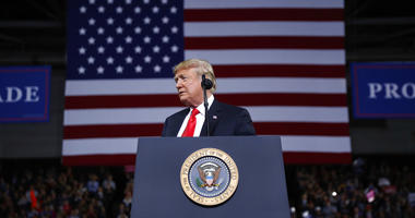President Donald Trump pauses while speaking during a campaign rally at Kansas Expocentre, Saturday, Oct. 6, 2018 in Topeka, Kan.