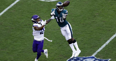 hiladelphia Eagles' Shelton Gibson (18) catches a pass against Minnesota Vikings' Mike Hughes (21) during the first half of an NFL football game, Sunday, Oct. 7, 2018, in Philadelphia.