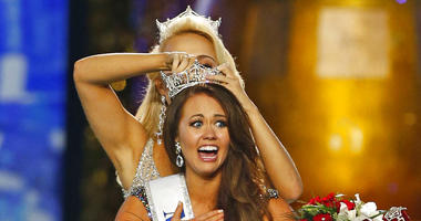 In this Sept. 10, 2017, file photo, Miss North Dakota Cara Mund reacts after being named Miss America during the Miss America 2018 pageant in Atlantic City, N.J.
