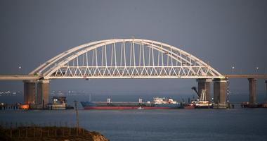 The Kerch bridge is seen blocked for ships entrance, near Kerch, Crimea, Sunday, Nov. 25, 2018.