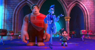 """FILE - This image released by Disney shows characters, from left, Ralph, voiced by John C. Reilly, Yess, voiced by Taraji P. Henson and Vanellope von Schweetz, voiced by Sarah Silverman in a scene from """"Ralph Breaks the Internet."""" Studios on Sunday, Nov."""