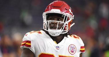 FILE - In this Oct. 8, 2017, file photo, Kansas City Chiefs running back Kareem Hunt warms up for the team's NFL football game against the Houston Texans in Houston.