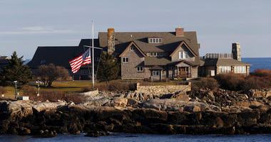 The American flag flies at half-staff in honor of President George H. W. Bush at Walker's Point, the Bush's summer home, Saturday, Dec. 1, 2018, in Kennebunkport, Maine.
