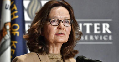 FILE - In this Sept. 24, 2018, file photo, CIA Director Gina Haspel addresses the audience in Louisville, Ky.