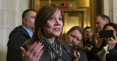 General Motors CEO Mary Barra speaks to reporters after a meeting with Sen. Sherrod Brown, D-Ohio, and Sen. Rob Portman, R-Ohio, to discuss GM's announcement it would stop making the Chevy Cruze at its Lordstown, Ohio, plant.