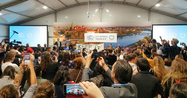 Youth and indigenous groups protest against fossil fuels during US-hosted event at the UN climate talks in Katowice, Poland, Monday, Dec. 10, 2018, as the COP24 UN Climate Change Conference takes place in the city.