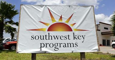 FILE - This June 20, 2014, file photo shows a Southwest Key program sign.