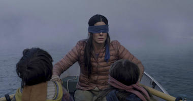 "FILE- This file image released by Netflix shows Sandra Bullock in a scene from the film, ""Bird Box."""