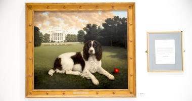 """This Wednesday, Jan. 9, 2019, photo shows """"Millie on the South Lawn"""" by Christine Merrill, alongside a letter from former first lady Barbara Bush on display at the American Kennel Club Museum of the Dog in New York."""
