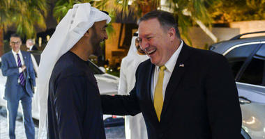 Abu Dhabi's Crown Prince Sheikh Mohammed bin Zayed Al Nahyan greets visiting US Secretary of State Mike Pompeo prior to their meeting at Al-Shati Palace in the UAE capital Abu Dhabi on Saturday, Jan. 12, 2019.