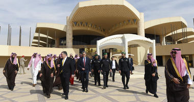 U.S. Secretary of State Mike Pompeo is accompanied by Saudi Minister of State for Foreign Affairs Adel al-Jubeir, as he departs from Saudi Arabia's King Khalid International, in Riyadh, Monday, January 14, 2019.
