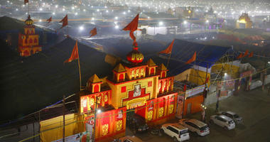 In this Monday, Jan. 14, 2019, photo, a thick layer of dust is seen over the tent city set up for the spiritual-cleansing Kumbh Festival in Prayagraj, India.
