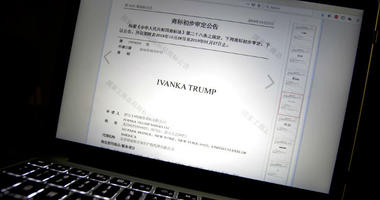 FILE - In this Nov. 6, 2018, file photo, a document from the website of China's Trademark Office of the State Administration for Industry and Commerce showing provisional approval of a trademark for Ivanka Trump Marks LLC is seen on a computer screen in B