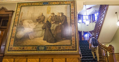 This Nov. 29, 2017, photo shows a murals of Christopher Columbus at Notre Dame in South Bend, Ind.