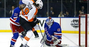 New York Rangers goaltender Alexandar Georgiev (40) makes a save against Philadelphia Flyers center Nol