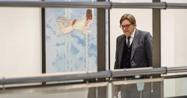 European Parliament Brexit coordinator Guy Verhofstadt arrives for a Brexit Steering Group meeting at the European Parliament in Brussels on Wednesday Jan. 30, 2019.