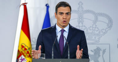Spain's Prime Minister Pedro Sanchez delivers a statement.