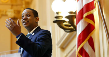 Virginia Lt. Gov Justin Fairfax welcomes visitors to the gallery at the opening of the senate session at the Capitol in Richmond, Va., Thursday, Feb. 7, 2019.